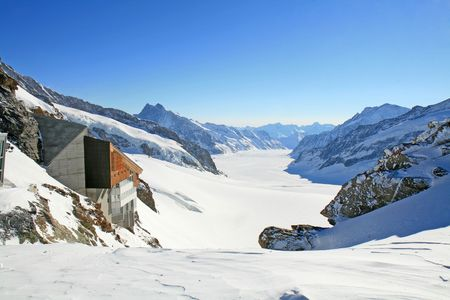 The Great Aletsch Glacier as viewed from Jungfraujoch, Switzerland. Stock Photo