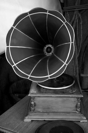 A gramophone in black and white Stock Photo