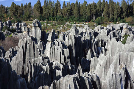 Aerial view of the Shilin Stone Forest National Park, near Kunming, China  Stock Photo