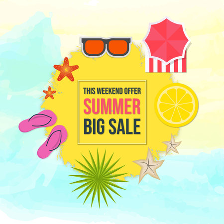 Summer Big Sale on Yellow Shape over Watercolor Background Top View Summer Elements, Vector Illustration