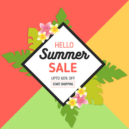 Summer Sale Background with Tropical Leaves and Flowers in realistic style and frame. Used for Invitation, Posters, Flyer, Brochure, Voucher Discount Ilustração