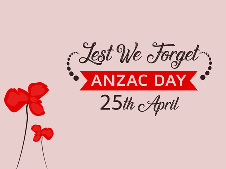 Anzac Day Illustration with nice red poppy flower background Illustration