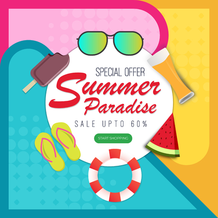 Summer paradise abstract background with fruits and ice-creams.  Vector illustration Ilustração