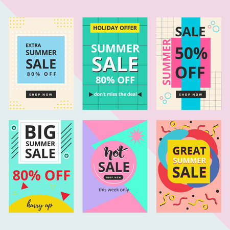 Set of summer sale banner with Memphis style. Used for greeting cards, stickers, planner, diary, Notes, Invitations. 80-90s fashion style