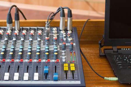 Close up audio control desk . Stock Photo