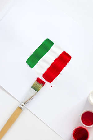 Italy flag. Painted Italian flag with brushes on white background. 版權商用圖片
