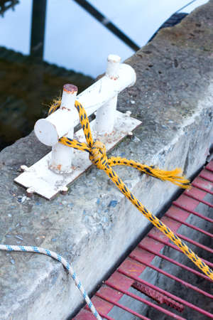 Rope on a yacht with iron details