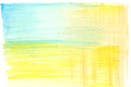 Abstract painted yellow green and blue watercolor background