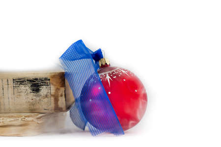 Christmas balls and old books on white background christmas composition