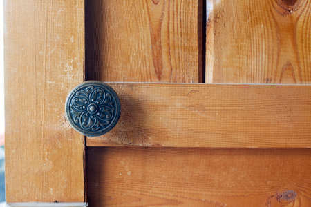 Wooden door with door knob or handle vintage
