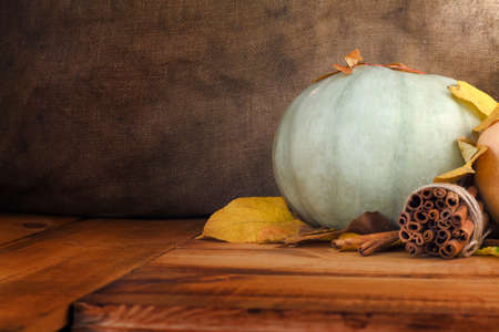 Autumn Pumpkin Thanksgiving Background - pumpkins, leaves and cinnamon on old rustic wooden table Stock Photo