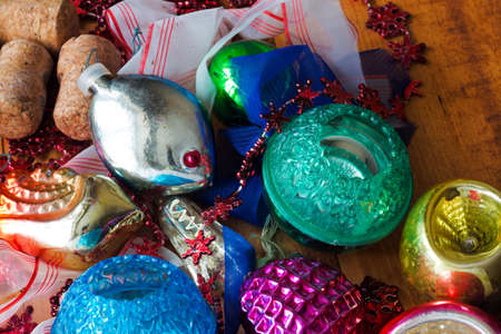Christmas background with colorful decorations, ball and toy