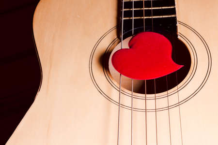 Red heart and guitar. Stock Photo
