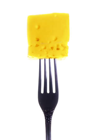 tasty morsel cheese on a fork