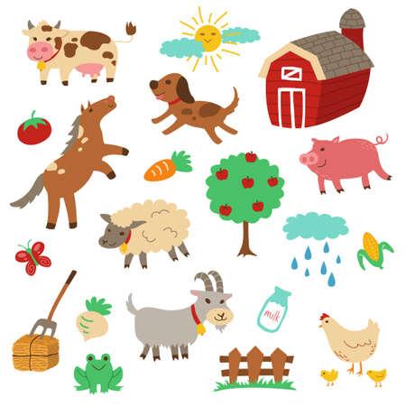 sheep dog: Farm Animal Cartoon Vector Set