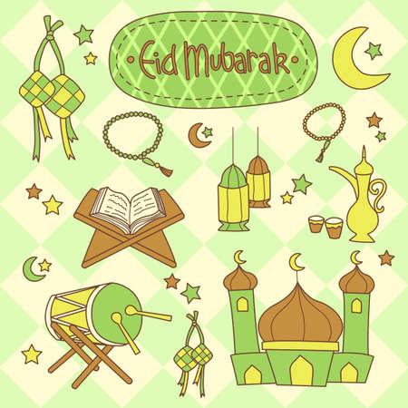mosques: Eid Mubarak Doodle Style Cartoon Set