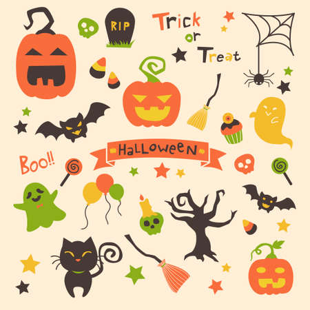 Halloween party set cartoon vector available in  Vettoriali