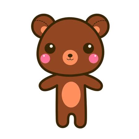 귀여운 갈색 스타일에서 벡터 만화 곰입니다.