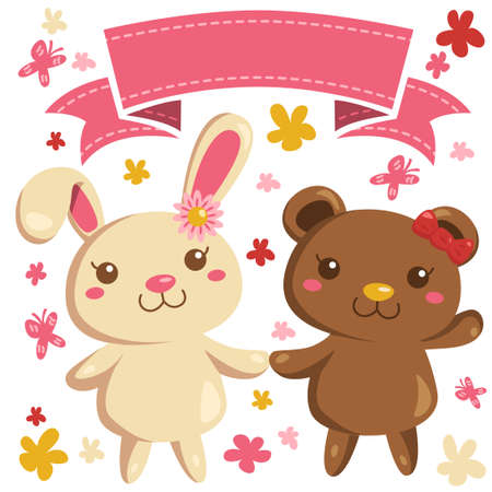 pinkish: Bunny and bear vector in cute cartoon style with girls friendship theme. With a title banner flowers and butterflies in pinkish color.