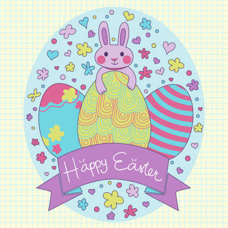 Happy Easter card in vector. Cute cartoon purple rabbit with easter eggs contain elements are hearts flowers dots and ribbon banner. Also included seamless background. Vector