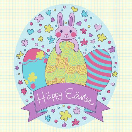 colores pastel: Tarjeta de Pascua feliz en vector. Lindo conejo de dibujos animados de color púrpura con los huevos de Pascua contiene elementos son corazones flores puntos y bandera de la cinta. También se incluye de fondo sin fisuras. Vectores