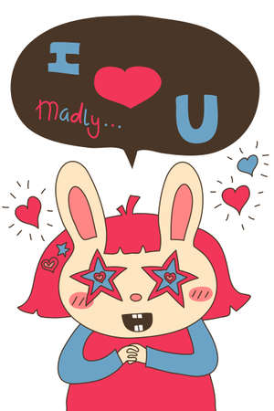 hair colors: Cartoon bunny girl with pink hair in simple drawing style smiling with hot pink blue cream colors.  Illustration