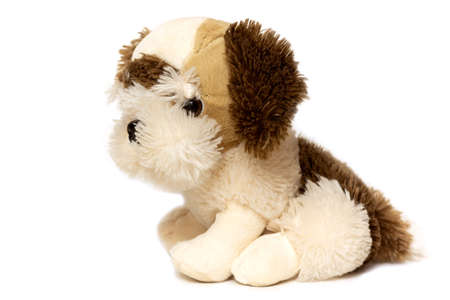 Soft dog toy for children, color brown, isolated on white background