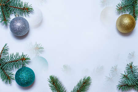 Winter and Christmas background border with flora of blue spruce, on white background with copy space. Zdjęcie Seryjne