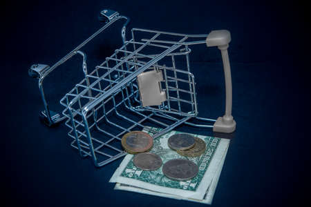 a shopping cart filled with coins of various denominations. international crisis, abstraction of currency depreciation and crisis. Stock Photo