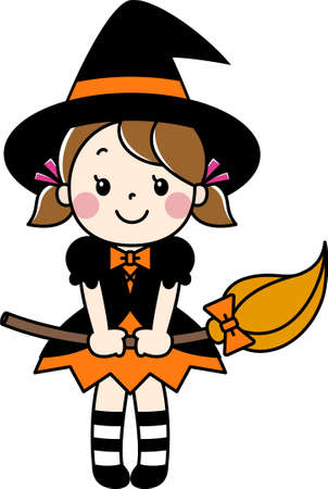 A girl (child) wearing a witch costume at Halloween Stock Illustratie