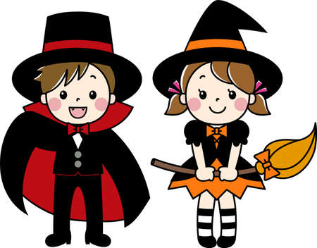 Children wearing costumes at Halloween