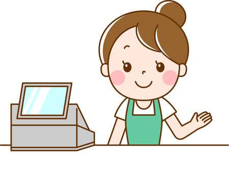 Female sales clerk doing cashier work Vetores