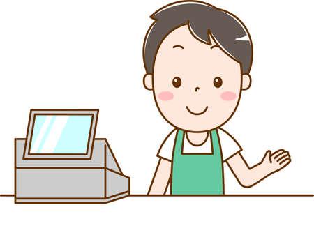 Male clerk doing cashier work