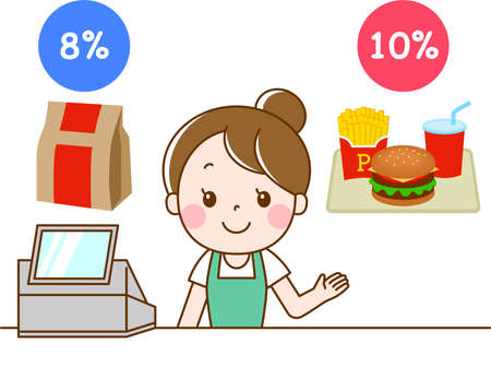 Female clerk at hamburger shop explaining reduced tax rate Иллюстрация