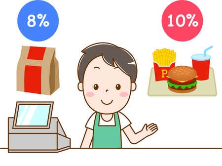 Männlicher Angestellter im Hamburgerladen, der den reduzierten Steuersatz erklärt