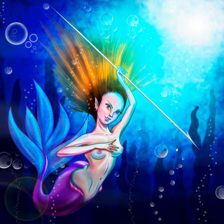 Mermaid hunting at the bottom of the sea
