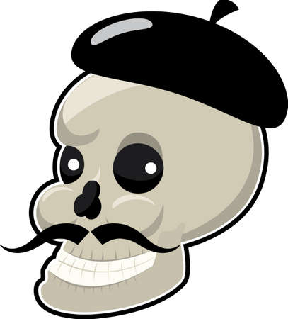 Skull with long mustache Illustration