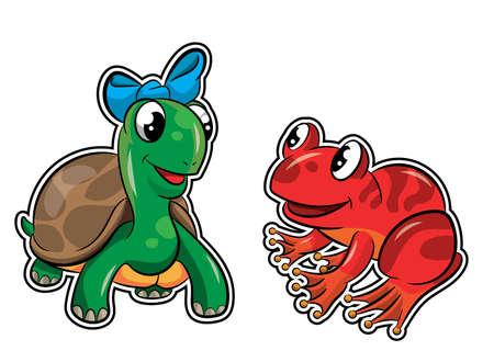 Turtle and happy frog Stock Illustratie