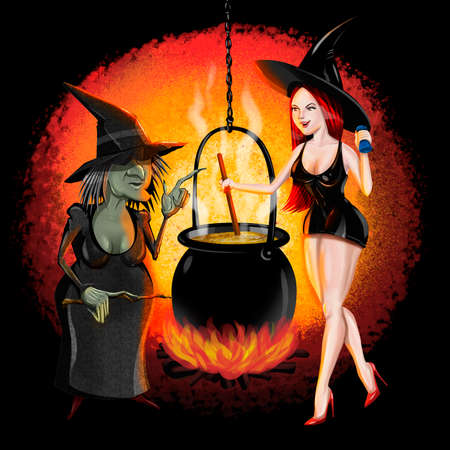 Bad and good witches vector illustration Stockfoto