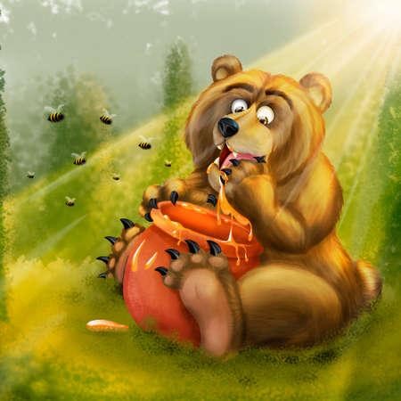 Bear that eats honey Stockfoto