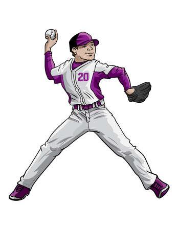 Baseball pitcher in action Stock Illustratie