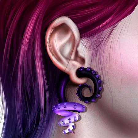 Ear with octopus earring