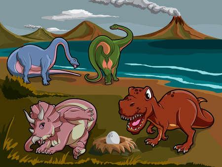 Wild jurassic dinosaurs