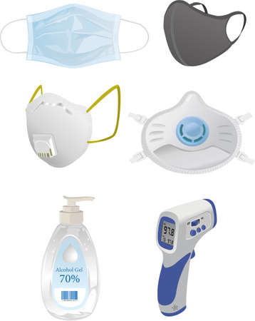 Thermometer masks and other useful to avoid the corona virus Archivio Fotografico - 156508264