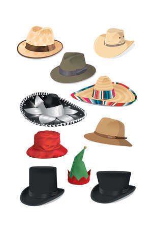 Hats of different shapes, colors and cultures Archivio Fotografico - 156508338