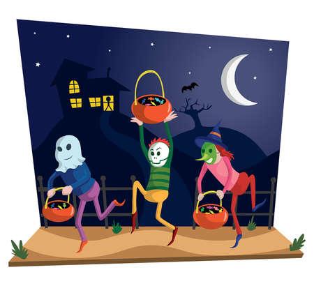Scene display with kids celebrating halloween