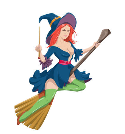 Nordic witch flying on her broomstick on Halloween Archivio Fotografico - 156508339