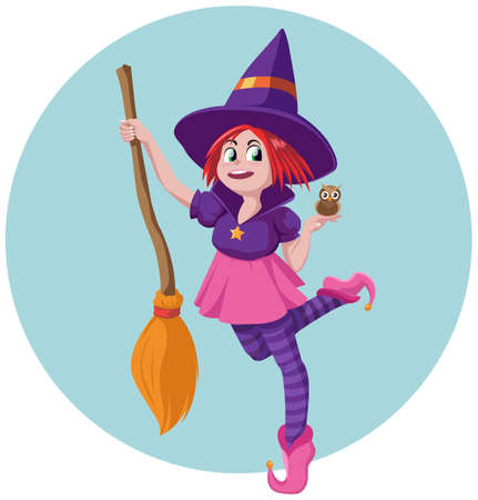 Little witch with her broom and her pet owl
