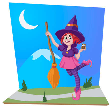 Scene of little witch with her broom and her pet owl Archivio Fotografico - 156309522
