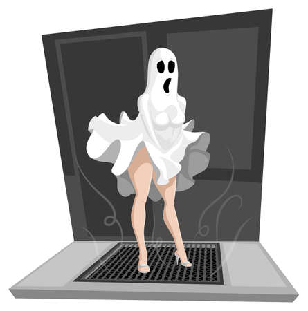 Scared ghosts showing their legs on Halloween
